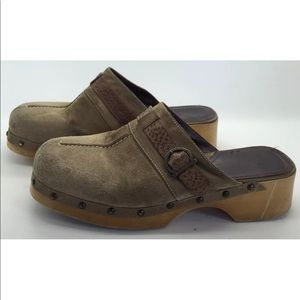 VIA SPIGA Cute Leather Wood Comfort Clogs 7M Italy